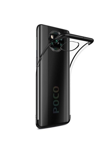 Microsonic Xiaomi Poco X3 Pro Kılıf Skyfall Transparent Clear Gold Siyah
